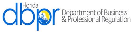 Logo for DBPR, hyperlink to their website, http://www.myfloridalicense.com/dbpr/