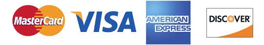 Master card, Visa, American express, & discover logo. shows the credit cards accepted by golf course