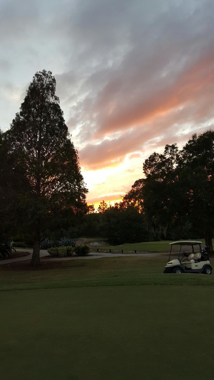 golf cart  by green at sunset