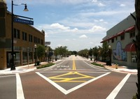 photo of pedestrian crossing lanes from Circle park to downtown street